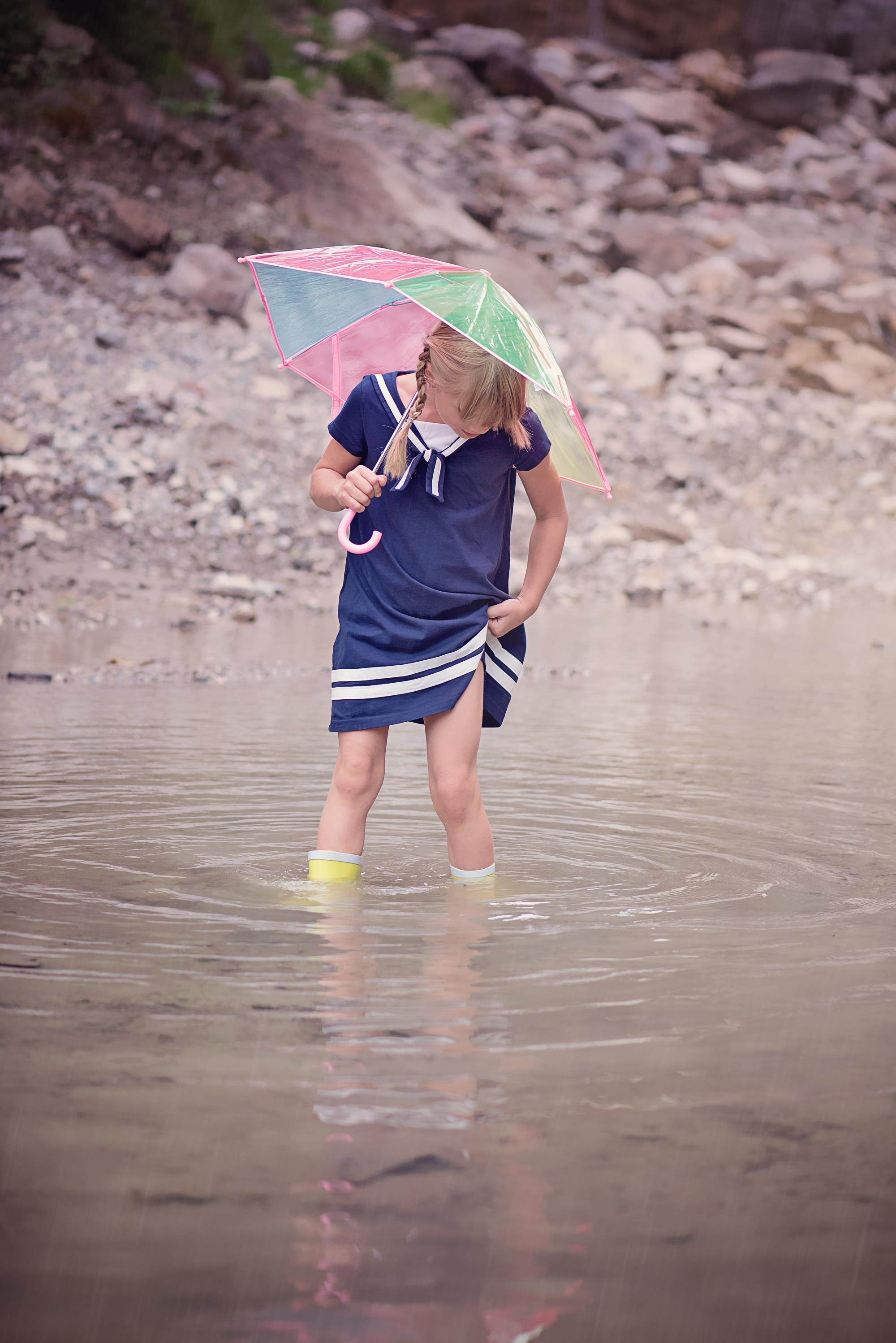 girl in rain boots with umbrella