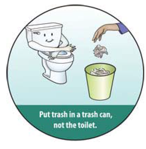 image of a toilet and a hand throwing away a piece of refuse