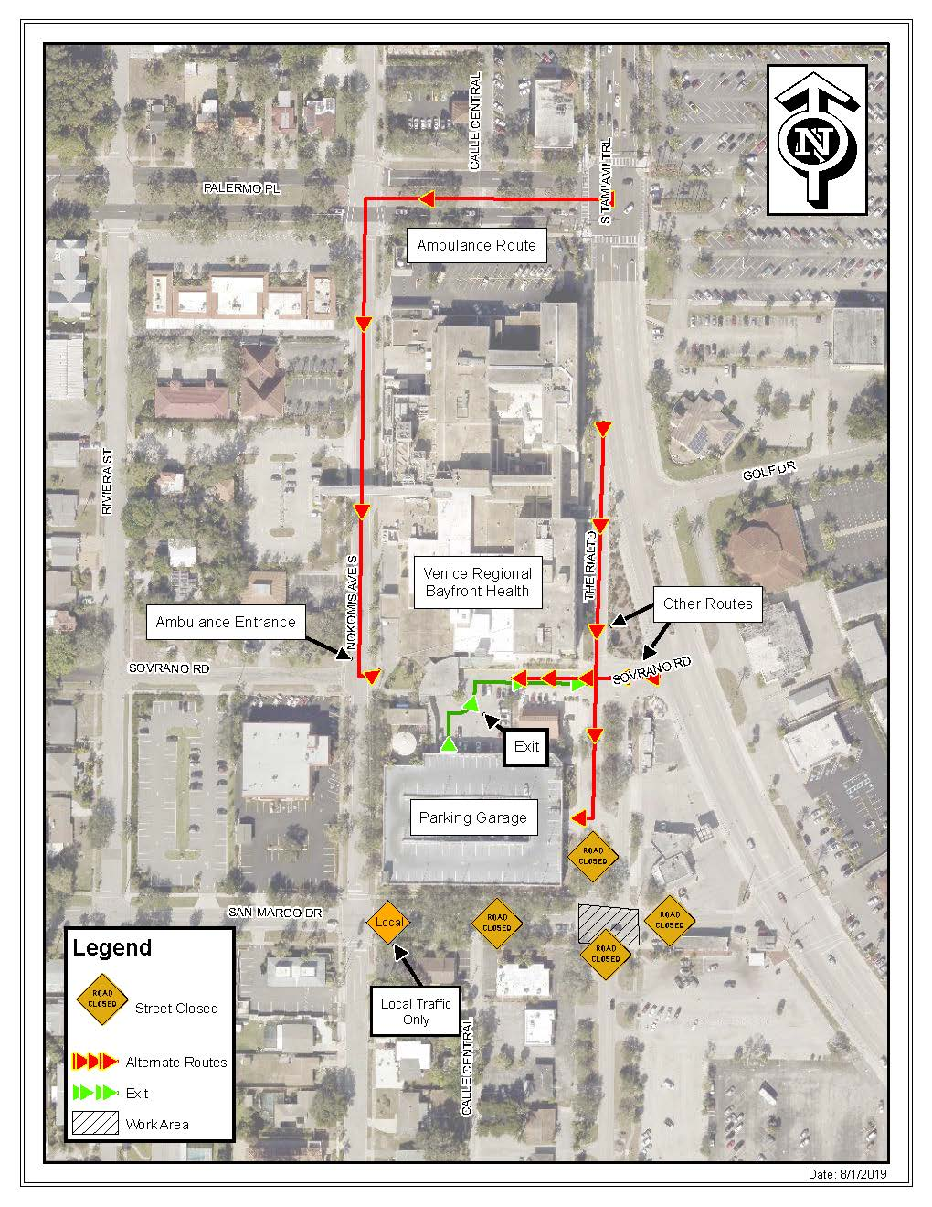 San Marco road closure map 8.5.2019